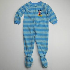 2T Blue Striped Fleece Mickey Mouse Footed Pajamas